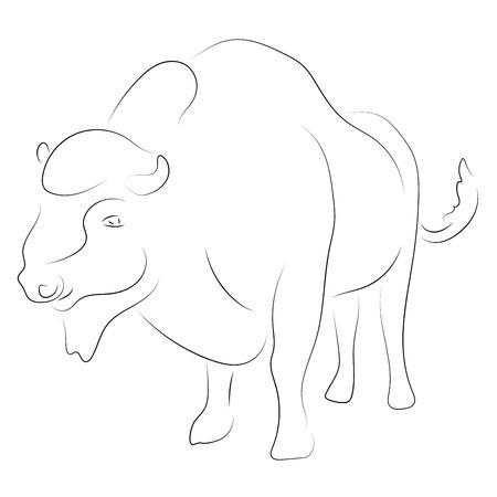 Bizon czarny na białym tle. Wektor rysunek ręka. Szkic graficzny styl zwierząt. Ilustracje wektorowe
