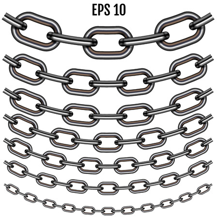 Vector realistic sagging steel chain set. Set with shadow isolated on white background