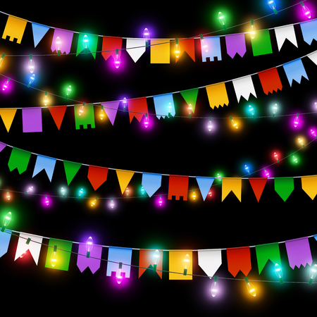 Color garland, festive decorations. Glowing christmas lights and colored flags isolated on black background.