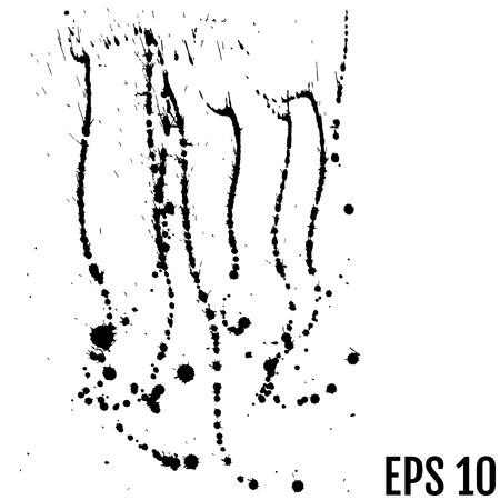 Black paint, ink splash, brushes ink droplets, blots. Black ink splatter background, isolated on white illustration