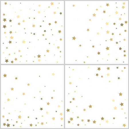 Gold stars. Confetti celebration. Falling golden abstract decoration for party, birthday celebrate, anniversary or event, festive. Festival decor. Vector backgrounds set. Illustration