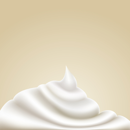 Realistic sour cream. Milk, mayonnaise design.  Vector mesh gradient