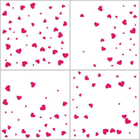Heart confetti for Valentine's Day, wedding, background, gift, sign, application, and more. Vector set of four love backgrounds Illustration