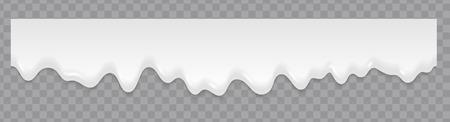 Salpicaduras de líquido de leche o crema que fluye de fondo. Textura fluida. Repita la textura suave del flujo de la leche blanca del vector o del flujo del helado en el fondo transparente Ilustración de vector