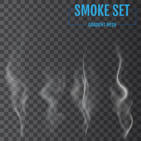 De délicates vagues de fumée de cigarette blanche sur fond transparent. Illustration vectorielle Vecteurs