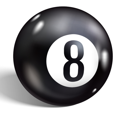 Eight Ball. Vector illustration billiards. Realistic 8 ball isolated on a white background.