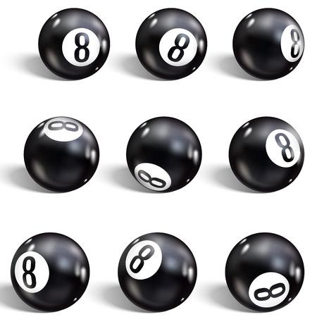 Acht Kugel. Set aus realistischen 8 Kugeln. Isoliert auf weißem Hintergrund. Vektorillustrations-Billard. Vektorgrafik