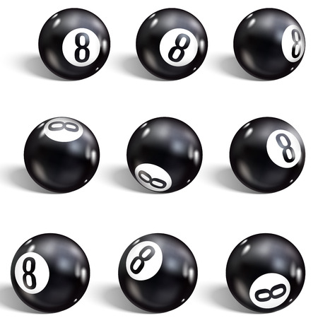 Eight Ball. Set of realistic 8 ball. Isolated on a white background. Vector illustration billiards.