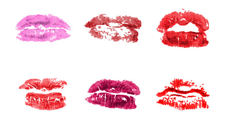 Lipstick kiss print. Female red lips. Sexy lips makeup, kiss mouth. Vector female mouths.