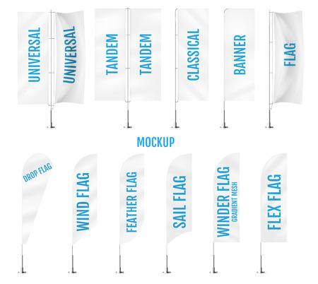 White textile banner flags. Banner flag mockups set. Set of vector advertising mockups.  Illustration