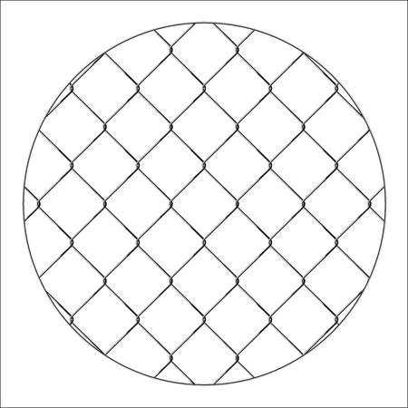 Rabitz. Progressive protective mesh of thick chrome wire that cannot be eroded. Modern round background. Illustration
