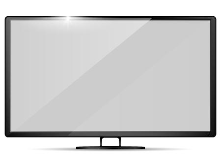 Televisión realista moderna. Maqueta de televisor. Ilustración vectorial.