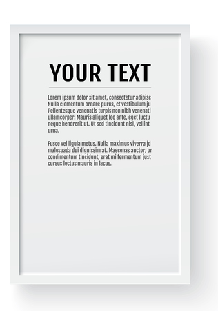 White modern frame, vertical mockup. Place for text, photo, gift or others. Vector illustration. Illustration
