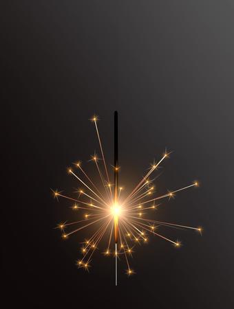 Realistic Holiday Bengal Light, with bright sparkle burning. Vector christmas diwali firework candle, celebration sparkler lights.