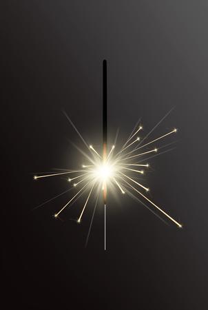 Realistic Holiday Bengal Light, with bright sparkle burning. Vector christmas diwali firework candle, celebration sparkler lights