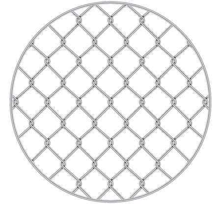 Rabitz. Progressive protective mesh of thick chrome wire that cannot be eroded. Modern round background.