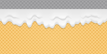 Cream Melted on Wafer Background. Ice cream flow soft seamless texture. Vector Illustration.