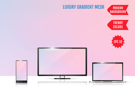 Modern abstract background. Colors transition concept. Gradient mesh. Trendy colored Surface. An example of the use of the proposed background on the screen of a laptop, smartphone and TV 向量圖像