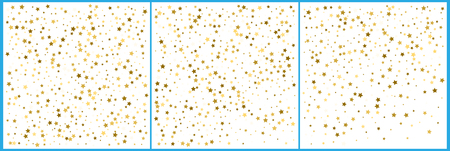 Gold star confetti celebrations. Simple festive modern design. Holiday vector. Set 3 in 1