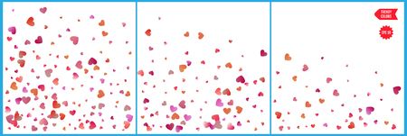 Red and pink hearts confetti celebrations. Simple festive modern design. Holiday vector. Set 3 in 1