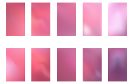 Abstract gradient mesh backgrounds. Vector purple and pink smooth banners templates. Easy editable trendy soft colored vector illustration.