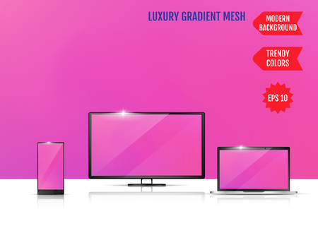 Modern abstract background. Colors transition concept. Gradient mesh. Trendy colored Surface. An example of the use of the proposed background on the screen of a laptop, smartphone and TV 일러스트