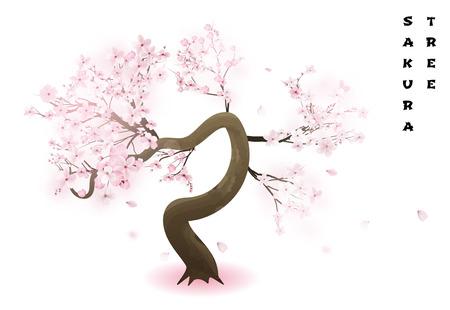 Cerisier. Sakura japonais de printemps fleuri rose réaliste. Illustration vectorielle.