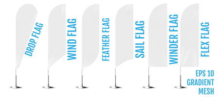Realistic white banner flags 3d mockup. Textile waving advertisement banner flags.
