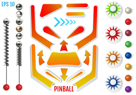 Pinball elements. Colored bumpers and flippers kit. Realistic set with different tools. Game design and creative concepts. Vector Illustration isolated on white background. Ilustrace