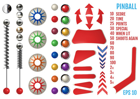 Realistic pinball elements. Colored bumpers and flippers kit. Realistic set with different tools. Game design and creative concepts. Vector Illustration isolated on white background.