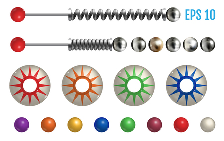 Realistic colored pinball elements. Realistic pinball set with different tools. Game design and creative concepts. Vector Illustration isolated on white background.