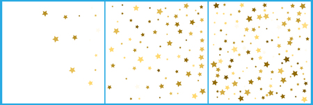 Gold stars. Confetti celebration, Falling golden abstract decoration for party, birthday celebrate, anniversary or event, festive. Festival decor. Soft colors,