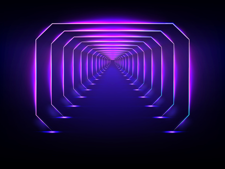 Endless tunnel optical illusion, spaceship corridor, science fiction rocket launching runway or teleport illuminating fluorescent neon light realistic. Abstract futuristic background with light effect Ilustração