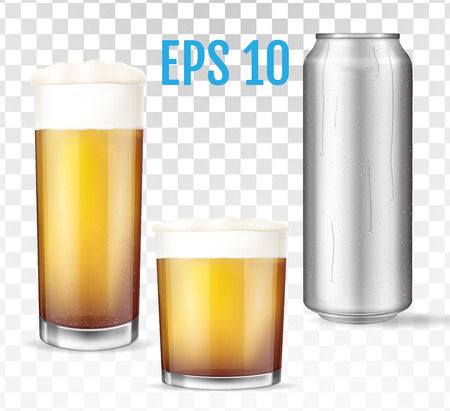 Beer glasses. Metal can of cold beer. Empty and full transparent cup. Glass full with ale and foam. Transparent realistic elements. Vector illustration