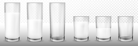 Set of vector realistic transparent glass glasses empty, half full and full of milk, dairy product, yogurt, kefir, protein cocktail. Print, template, design element Illustration