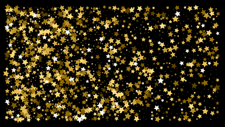 Golden glitter star confetti on a black background. Illustration of a drop of shiny gold stars. Decorative element. VIP cards, invitations, gift, luxury background for your design.
