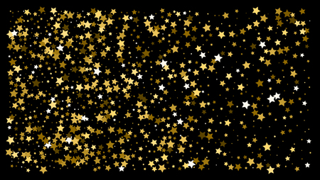 Gold stars. Confetti celebration, Falling golden abstract decoration for party, birthday celebrate, anniversary or event, festive. Festival decor. Vector illustration Banque d'images - 125075482
