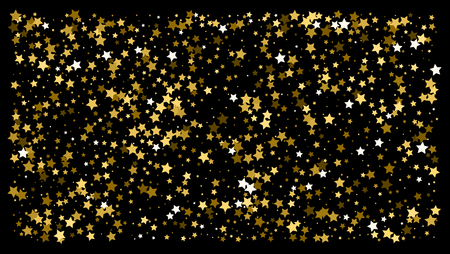 Gold stars. Confetti celebration, Falling golden abstract decoration for party, birthday celebrate, anniversary or event, festive. Festival decor. Vector illustration Banque d'images - 125075483