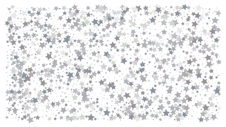 Silver stars. Confetti celebration, Falling silver abstract decoration for party, birthday celebrate, anniversary or event, festive. Festival decor. Vector illustration Ilustrace