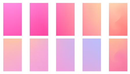 Colorful backgrounds in trendy neon colors. Modern screen vector design for mobile app. Soft color abstract gradients. Illusztráció