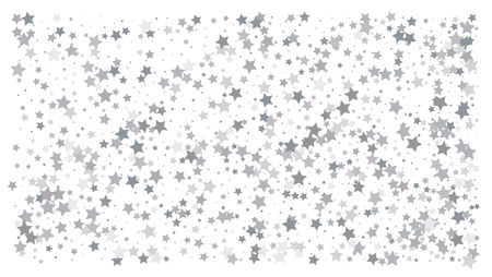 Silver stars. Confetti celebration, Falling silver abstract decoration for party, birthday celebrate, anniversary or event, festive. Festival decor. Vector illustration Ilustracja
