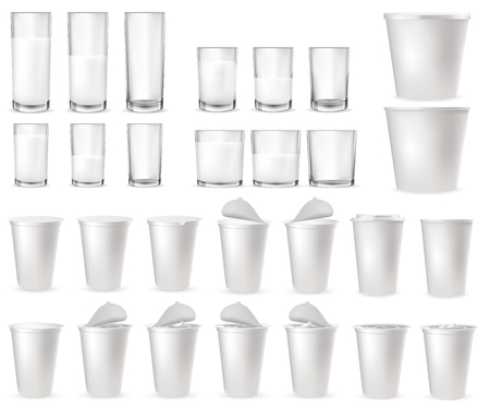 Realistic transparent glass glasses, plastic packages and cups for milk, yogurt, dairy sour cream, kefir, protein cocktail. Empty and full plastic cup with foil lid, cap. Mockup of farm product.