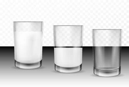 Set of vector realistic transparent glass glasses empty, half full and full of milk, dairy product, yogurt, kefir, protein cocktail. Print, template, design element 일러스트