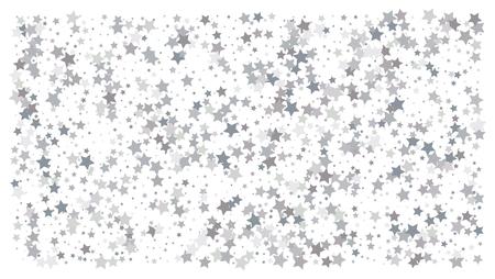 Silver stars. Confetti celebration, Falling silver abstract decoration for party, birthday celebrate, anniversary or event, festive. Festival decor. Vector illustration Иллюстрация