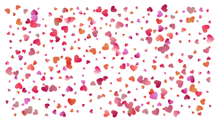 Beautiful Confetti Hearts Falling. Invitation Template Background Design, Greeting Card, Poster. Colored heart confetti for womens holidays