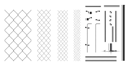 Realistic metal links and parts of the fence. Rabitz. Set for designing gates, hedges, barriers, cemetery fence, and so on Illustration