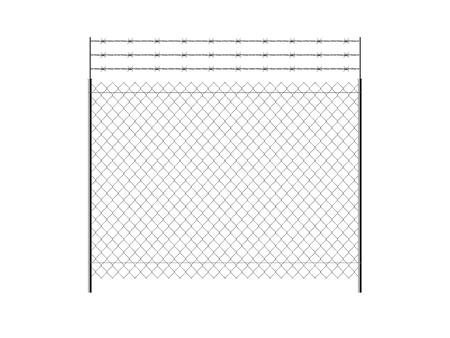 Realistic metal chain link fence. Barbed wire. Art design gate. Rabitz.  Prison barrier, secured property. The chain link of fence wire mesh steel metal.