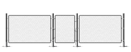 Realistic metal chain link fence. Rabitz. Art design gate. Cemetery fence, hedge, prison barrier, secured property. The chain link of hedge wire mesh steel metal. Stock Illustratie