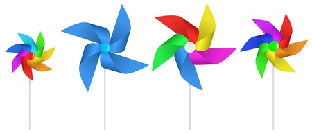 Color pinwheel. Multi colored toy paper windmill propeller. Pinwheel with blades of different colors. Vector illustration