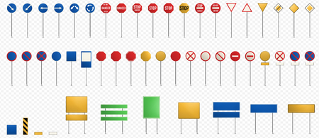 Set of road signs isolated on transparent background. Blank Road Signs. Horizontal vector illustration.